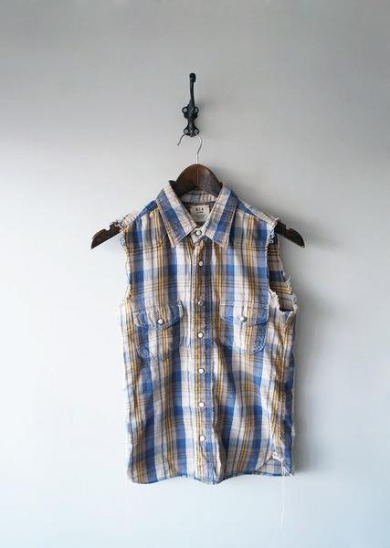 ノースリーブカットオフネルシャツ
