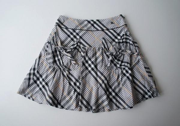 ホース刺繍リボンチェック柄スカート