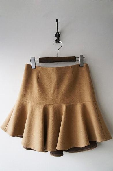ウールカシミヤ ペプラムスカート