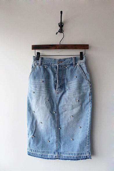 ラインストーン刺繍デニムスカート