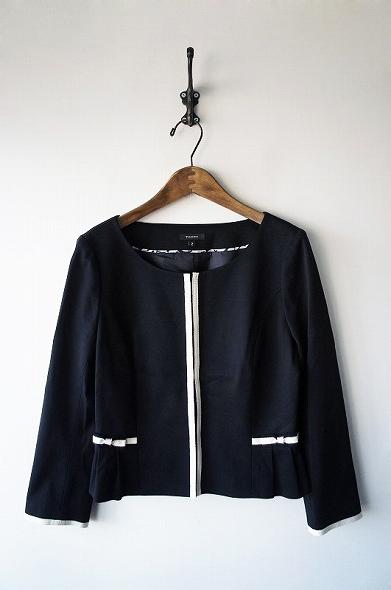 ノーカラーリボンジャケット