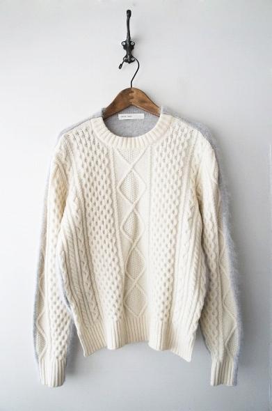 ケーブル編みニットドッキングセーター