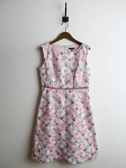 ADONIS 花刺繍ワンピース
