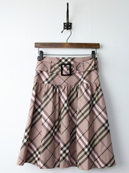 ピンクノバチェックウールスカート