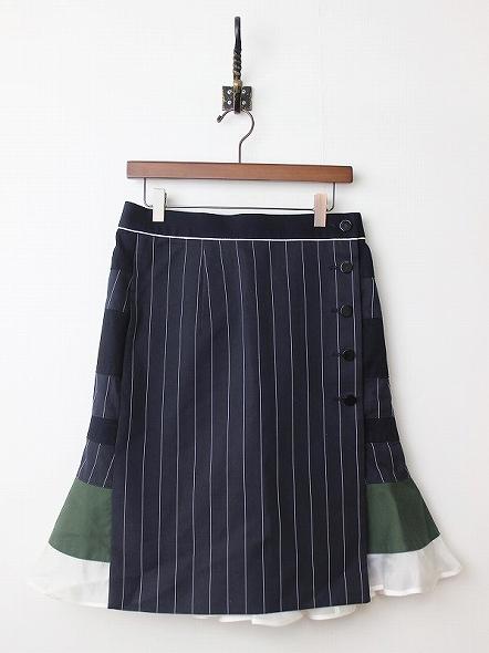 ストライプ切替ペプラムスカート