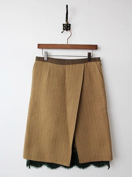 裾レースウール混ストライプスカート