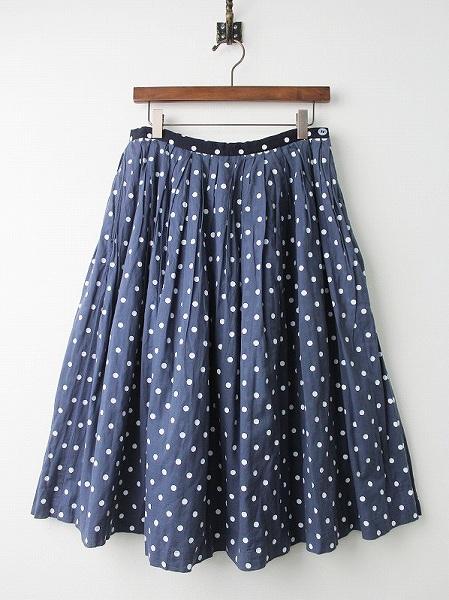 後ろ染め ドット フレア ギャザー スカート