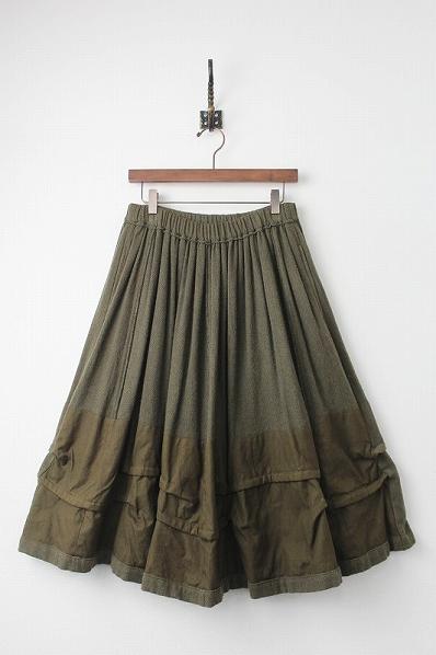 ウールコットン 切替 フレアスカート