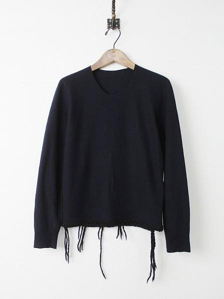 裾編み 圧縮ウール プルオーバー