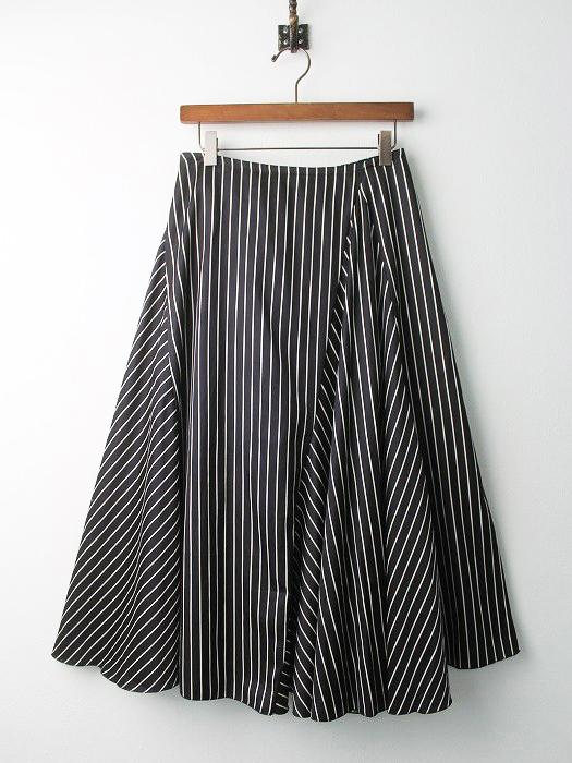 コットン ストライプ フレア スカート