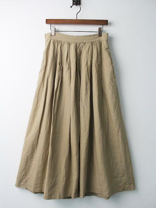 17060500408110 LINEN タック ロング スカート