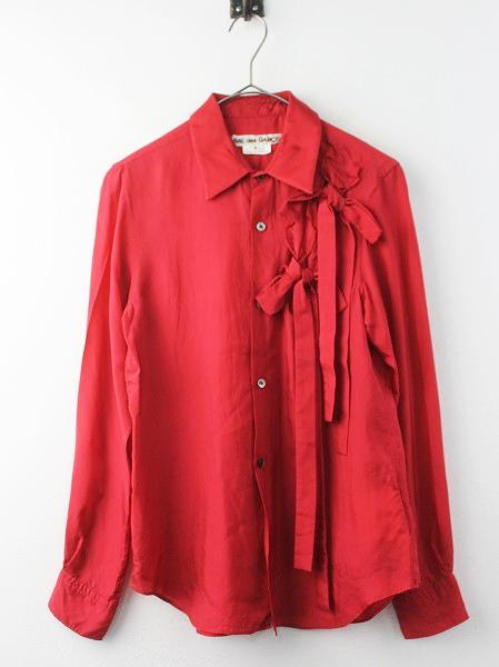 サテン リボン 長袖 シャツ