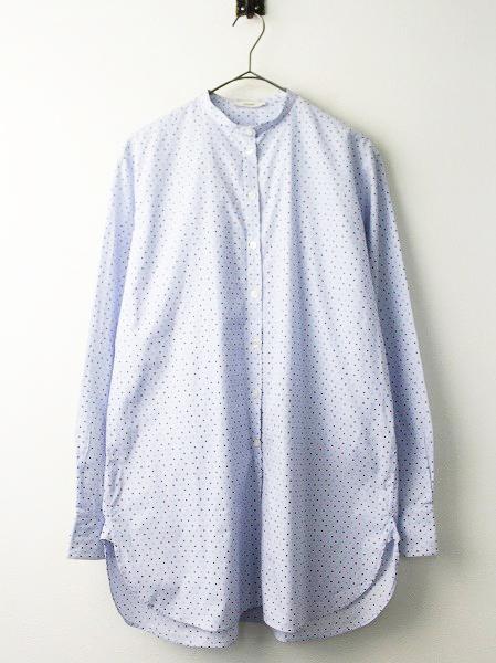 マルチドットプリント バンドカラー シャツ