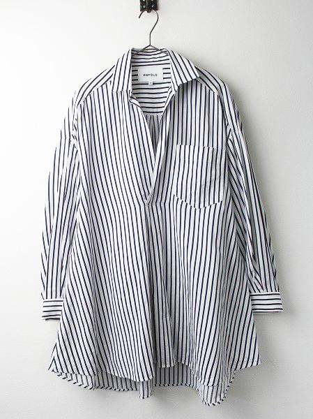 300AS230−1600 ピケストライプ Washed フレア シャツ