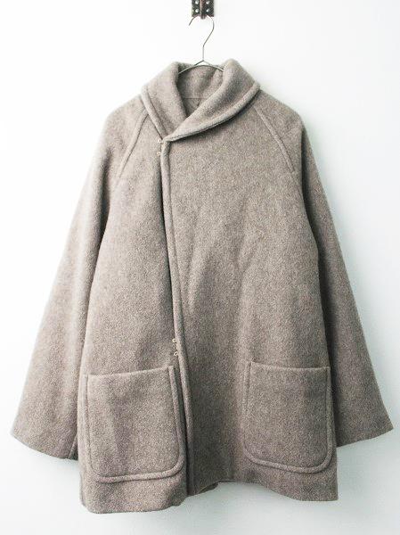 L03-04006 ヤクウール ショールカラーコート