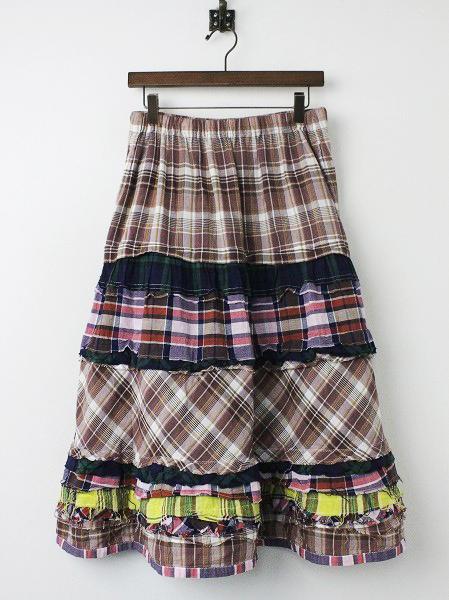 チェック パッチワーク ティアード スカート
