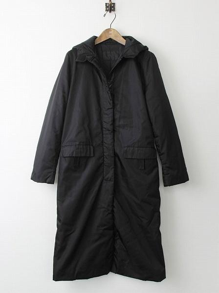 ナイロン 中綿入りフードステンカラーコート