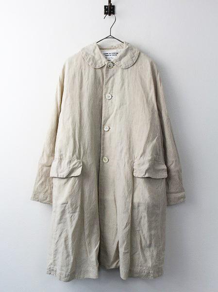ラメ ストライプ 丸衿 リネン ロング コート