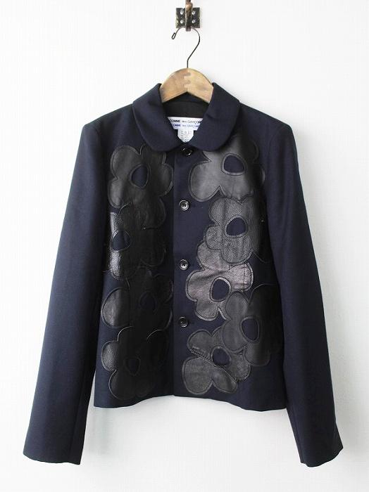 レザーフラワーパッチ丸襟ジャケット