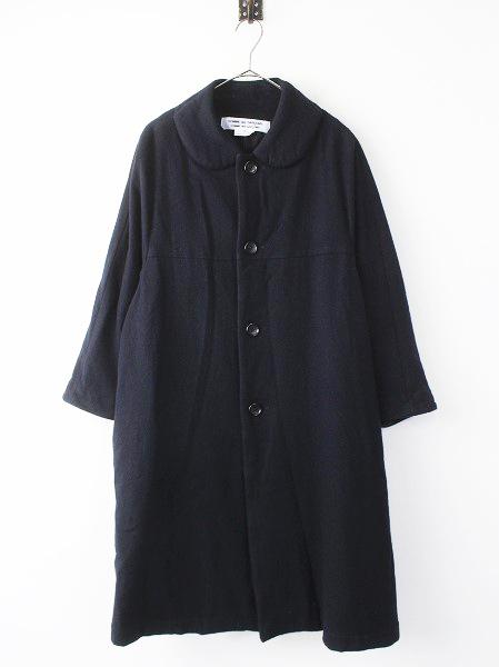AD2013 丸襟風 Aライン ウール ロング コート
