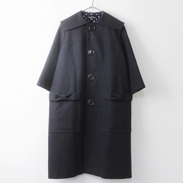 AD2016 リボン ポケット ビッグカラー コート
