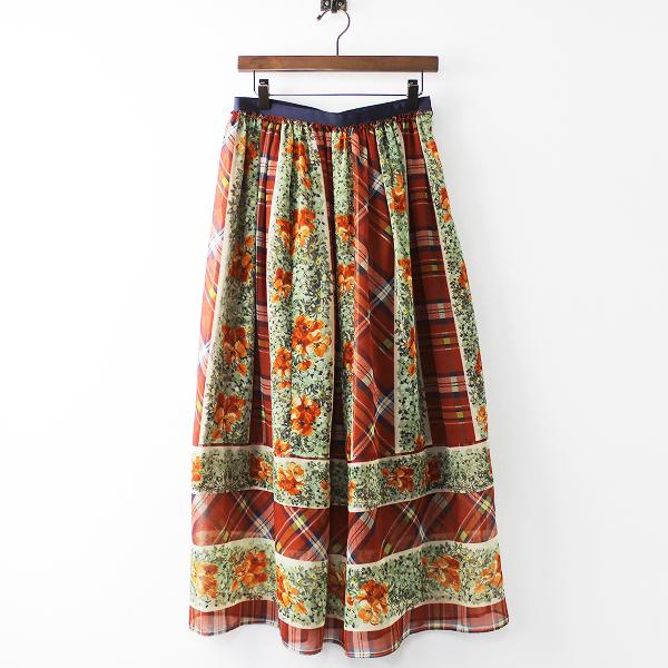 チェック フラワー スカート