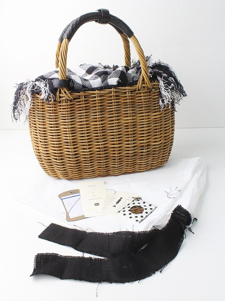 リトアニア手織り被せ2本手 紅籐 かごバッグ