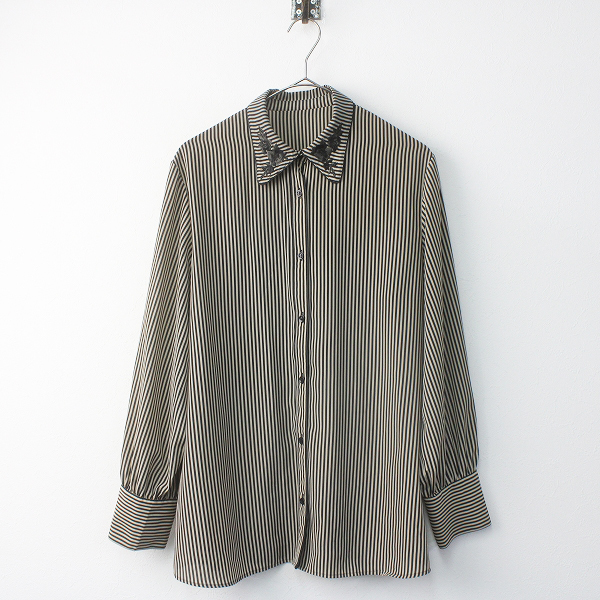 2017AW 衿刺繍 ストライプ ブラウス